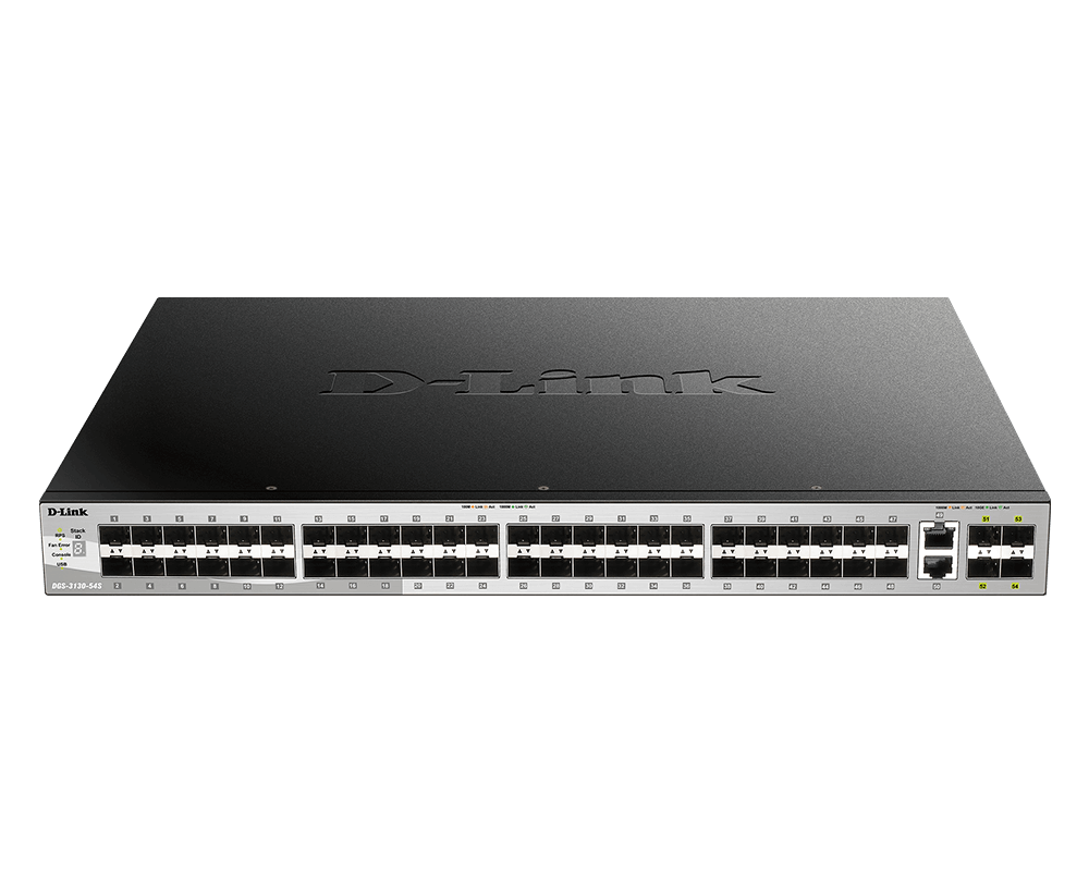 D-Link DGS-3130-54S 48 SFP and 2 10G BASE-T + 4 10G SFP+ ports, Lite L3 Stackable Managed Switch (stacking cable not included)